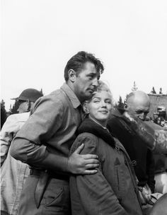 """Marilyn Monroe and Robert Mitchum on the set of """"River Of No Return"""", 1953."""