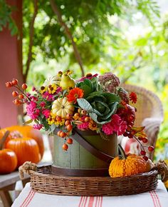 Beyond mums: If your go-to autumn bouquet defaults to traditional offerings, shake it up with a less-expected blend of veggies, fruits, berries and widely varied flowers. Small gourds, cabbage heads and pears (secured to thin dowels) add surprising flair.