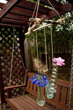driftwood + garden twine + miscellaneous bottles mobile