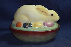 FENTON Glass Bunny Rabbit & Easter Eggs on Nest Purple Trim Signed    SOLD