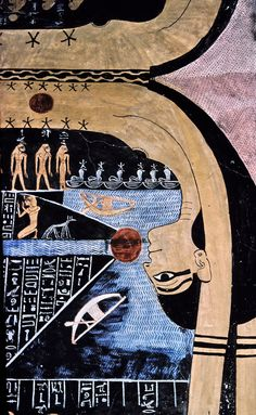 The goddess Nut, painted on the ceiling of Tutenkamen's tomb. she swallows the sun each night..