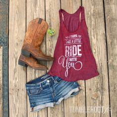 Country Outfits: Adorable I Wanna Take a Little Ride With You tank top by TumbleRoot. Perfect outfit for your next country music festival! // http://tumbleroot.com