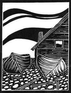 Boats linocut: Alison Deegan, shown on Weaverbird Workshop