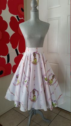 "Custom Made to Order Disney The Princess and the Frog Full Circle Skirt Sz 23""- 40"""