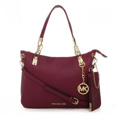 Michael Kors Shoulder Tote with Purple Leather