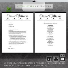Resume Template & Cover Letter Template Professional by LANDEDpro Teacher Resume Template, Creative Resume Templates, Cv Design, Resume Design, Cover Letter Template, Cv Template, Letter I Words, Professional References, Mac Pc