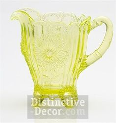 *MOSSER ~ Glass Dahlia Pitcher - Vaseline