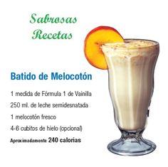 BATIDO DE MELOCOTON.- 1 medida de fórmula 1 sabor Vainilla. 250 ml. de leche semidesnatada. 1 melocotón fresco. 4-6 cubos de hielo (opcional). APROXIMADAMENTE 240 CALORIAS. http://www.jpcdesayuno.blogspot.com/