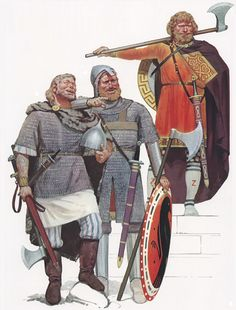 at the battle of Dyrrachium, in the Varangian guard was fighting as well, they were led by Nabites. Varangians were vikings soldier forming the corps d'élite of the Emperor. Vikings, Viking Warrior, Viking Age, Byzantine Army, Varangian Guard, Osprey Publishing, Viking Reenactment, Armadura Medieval, Early Middle Ages