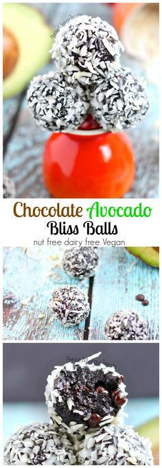 Chocolate Truffle Bliss Balls recipe (Vegan)- Healthy raw chocolate energy balls made avocado and seed butter. These chocolate avocado truffle bliss balls are not only raw and healthy, they are Vegan nut free and made with avocado! Healthy Sweets, Healthy Snacks, Crepes, Fudge, Raw Chocolate, Chocolate Balls Recipe, Chocolate Truffles, Chocolate Brownies, Chocolate Covered