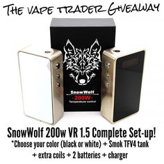 """""""Did you know the @TheVapeTrader now runs weekly and monthly #giveaways directly on our site? Just like this #SnowWolf200w complete set-up that we are…"""""""