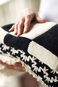 Vintage Crocheted Baby Blanket Using Debbie Bliss Cashmerino Aran Afghan Blanket, Baby Blanket Crochet, Crochet Baby, Black And White Baby, White Cottage, White Farmhouse, Baby Blocks, Knitted Blankets, Soft Blankets