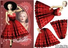 1950's Red and Black Lace Lady Fashion Reflections Decoupage
