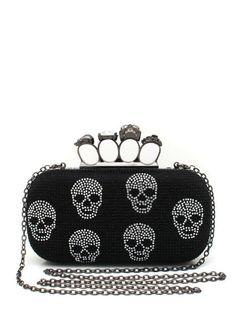 skull-embellished-satin-clutch BLACKSLVR SILVERGOLD - GoJane.com