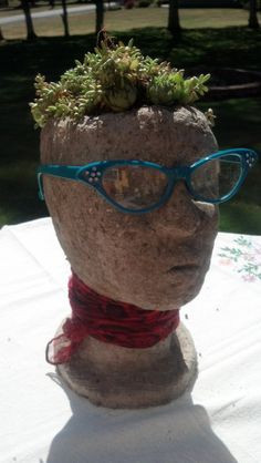 Hypertufa Cement Head Planter with succulents by Snohomish artist Carrie Milburn