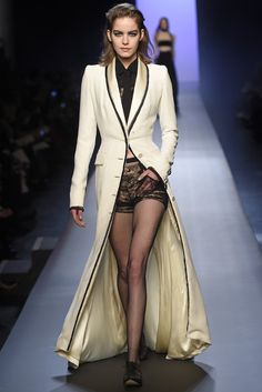 Jean Paul Gaultier Couture Spring 2015 presented a lineup of alterna-brides and she-grooms. [Photo by Giovanni Giannoni]