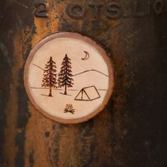 Wood Burned Camping Scene with tent, pine trees and moon Maple ...
