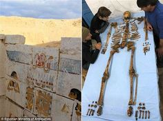 The 3,650-year old skeleton of King Senebkay (pictured right) has revealed the pharaoh die...