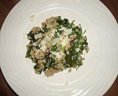"White Wine Quinoa ""Risotto"" with Mushrooms, Spinach, & Parmesan"