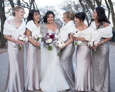 How gorgeous does is this shot of her and her bridesmaids in a mix of these metallic Jenny Yoo and Sorella Vita dresses!? Shop the looks on brideside.com    Photo by: Maha Studios