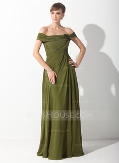 Mother of the Bride Dresses - $132.99 - A-Line/Princess Off-the-Shoulder Sweep Train Chiffon Mother of the Bride Dress With Ruffle Flower(s) (008015153) http://jjshouse.com/A-Line-Princess-Off-The-Shoulder-Sweep-Train-Chiffon-Mother-Of-The-Bride-Dress-With-Ruffle-Flower-S-008015153-g15153