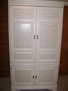 TV armoire makeover - handpainted stenciled Tv Armoire, Armoire Redo, Painted Armoire, Armoire Makeover, Furniture Makeover, Furniture Decor, Refurbished Furniture, Repurposed Furniture, Painted Furniture