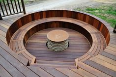 Here is the fire pit in close view, with the stone pit itself surrounded by circular rich oak bench seating. You are in the right place about Firepit cuadrado Here we offer you the most beautiful pict Round Fire Pit Table, Fire Pit Bench, Deck Fire Pit, Garden Fire Pit, Fire Pit Seating, Fire Pit Backyard, Deck Seating, Indoor Fire Pit, Sunken Fire Pits