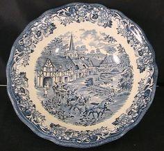 "Vintage Royal Staffordshire by J&G Meakin ""Stratford Stage"" 8-1/2"" serving bowl ironstone blue transferware"