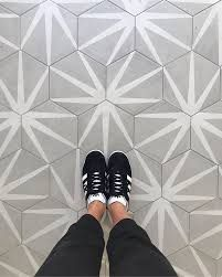 Patterned floor tiles will always be one of our favorites, like our Allora hex shown here in color Stella! Can't wait to see more of this…