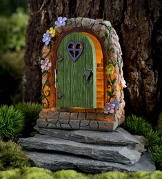 Miniature Fairy Garden Solar Stone Door | Miniature Fairy Gardens | Stone Door opens to reveal a lighted staircase scene inside. Charming!