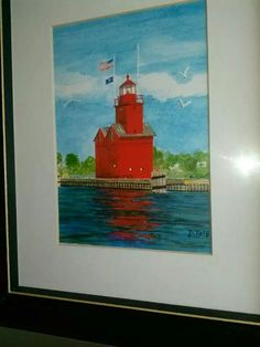 Holland, Michigan lighthouse,  lovingly known as Big Red.  Framed print available.  5x7 print, in 8x10 black wood frame, matt and glass.