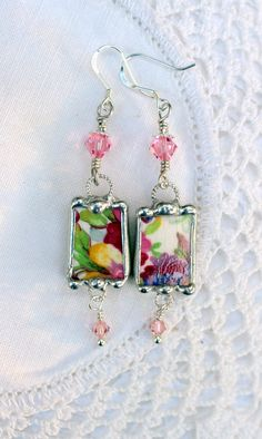 Broken China Jewelry Earrings Floral Chintz by Robinsnestcreation1