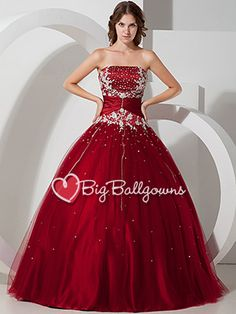 Burgundy Princess Strapless Corset Tulle Satin Beaded Long Ball Gown - US$ 201.99 - Style BG0010 - BigBallGowns