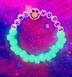 Kandi Bracelet Blacklight Send Nudes Emoji bracelet #festivaloutfits