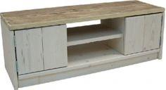 Tv meubel van oud steigerhout en white-wash met 2 deurtjes (26320131931)
