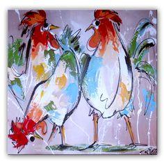 Kippen schilderij met oranje en creme tinten Deze gekke kippen zijn door onze kunstenaars met paletmes geschilderd. Hierdoor is de verf dik opgezet en krijgen de kippen meer karakter. Met dit schilderij heb je een echte eyeatcher voor je muur.