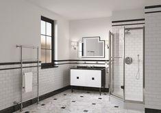 Le style Art déco apporte classe et originalité à la salle de bains. Découvrez nos 5 conseils pour adopter le style Art Déco dans votre salle de bains. Double Vanity, Glamour, Bathroom, Orb Light Fixture, Wall Lamp Shades, Beveled Mirror, Hexagon Shape, Washroom, Full Bath