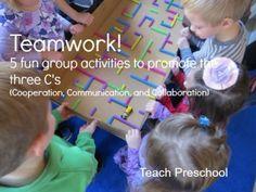 Five simple activities that promote teamwork! Perfect for preschoolers. {Teach Preschool}