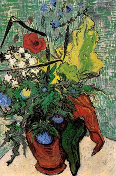 Vincent van Gogh — Wild Flowers and Thistles in a Vase, 1890, Vincent...