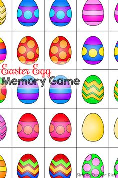 Easter Egg Memory Game - Simple Fun for Kids : Free printable Easter egg matching game - play matching or memory games at any skill level! Free printable Easter egg matching game - play matching or memory games at any skill level! Easter Activities For Preschool, April Preschool, Easter Games, Easter Crafts For Kids, Spring Activities, Easter Ideas, Preschool Classroom, Easter Art, Easter Eggs