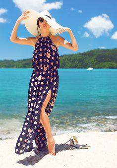 Summer Fashion 2014. Stunning Maxi dress and fabulous oversized beach hat!! ::M::
