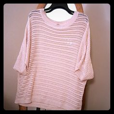 Oversized New York & Company short sleeve sweater Powder pink. Shiny thread added in so it has a bit of a shimmer to it. New York & Company Sweaters Crew & Scoop Necks