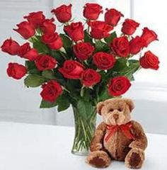 Send your warm wishes to your near and dear ones with beautiful Red Roses with Teddy bear and a box of Ferrero chocolates! Book an order online today from our virtual flower store www.realflowers.ae