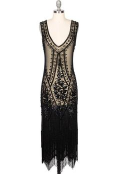 1920's Vintage Flapper Beaded Fringe Gatsby Gown - The Icon - Black Jet - Full-Length
