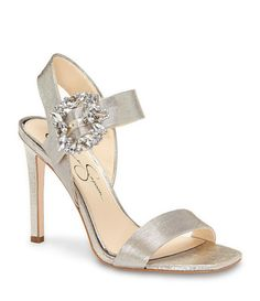 Badgley Mischka Shiraz Mesh and Satin Rhinestone Detail Ankle Strap Peep-Toe Dress Sandals tSf9VuT7yB