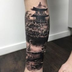 Tattoos are popular now more than ever. Japanese Temple Tattoo, Japanese Tattoo Art, Japanese Tattoo Designs, Japanese Sleeve Tattoos, Tattoo Designs Men, Asian Tattoos, Leg Tattoos, Body Art Tattoos, Tattoos For Guys