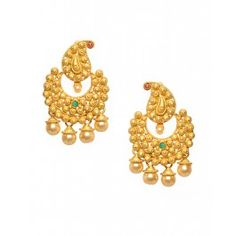 Golden Crescent Earrings with Paisley Top