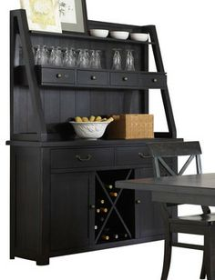 Liberty Furniture Sundance Lake Traditional Buffet w/ Hutch in Black - buffets and sideboards. dining room wine and coffee bar