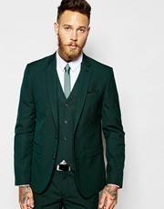 ASOS Slim Fit Suit Jacket In Dark Green