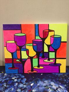 Geometric Wine Glasses painting by Lauren Luna  www. Artistaluna.com
